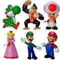 6 PCS Moda Moda Dos Desenhos Animados Super Mario Bonecas Artesanais Para As Crianças Presentes 6 CM Modelo Mario Natal Delicada Decoração De Plástico
