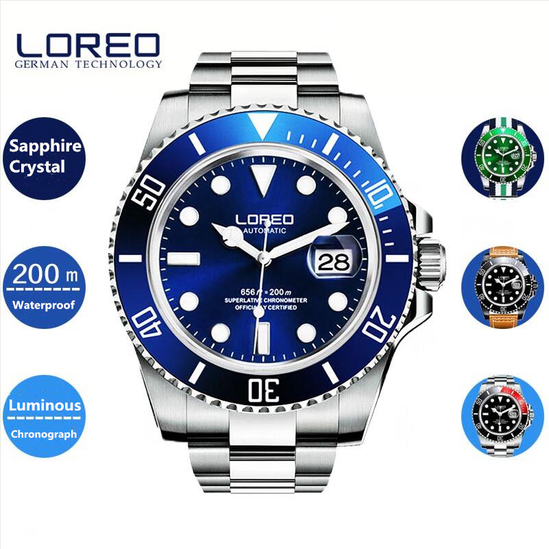 LOREO Sport Men Steel Watch Clock Fashion Mechanical Automatic Wristwatch Men Famous Design Luxury Business Erkek Kol Saati A25 e110wt electric soldering iron lcd digital adjustable thermostat electric soldering iron welding repair with 5pcs tips 85v 260v