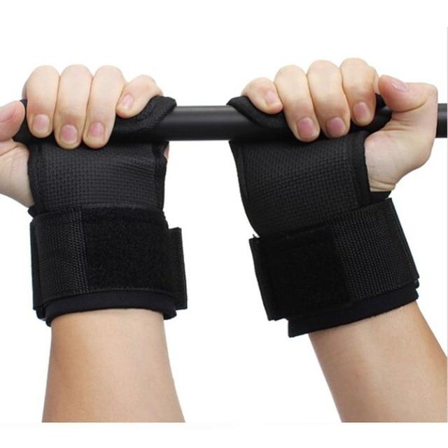 a05c97861 1 زوج رفع الاثقال رياضة معصم ناعم اللياقة البدنية الأيدي منصات معدات رفع  التدريب الأشرطة المضادة