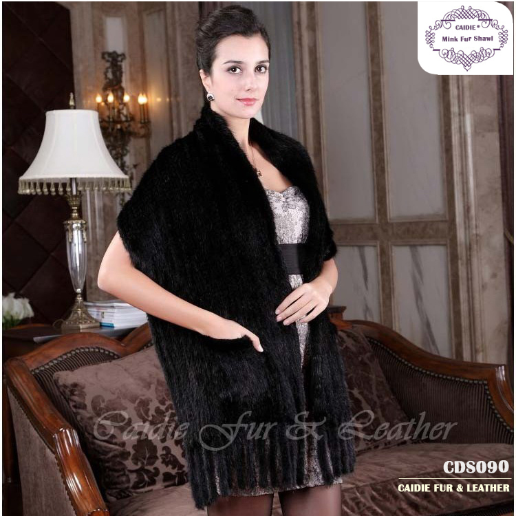 CDS070 205 Hot Sale Black Fur Shawl,Knitted Genuine Mink Wedding fur shawl  Women Fur Wrap Cape  Winter Knitted mink fur scarf
