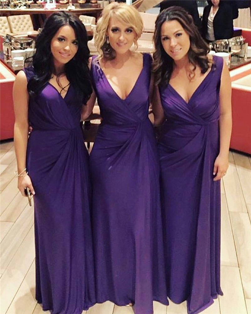 Compare prices on lilac bridesmaid dress online shoppingbuy low long purple chiffon bridesmaid dresses 2017 v neck floor length a line pleat tank purple ombrellifo Images