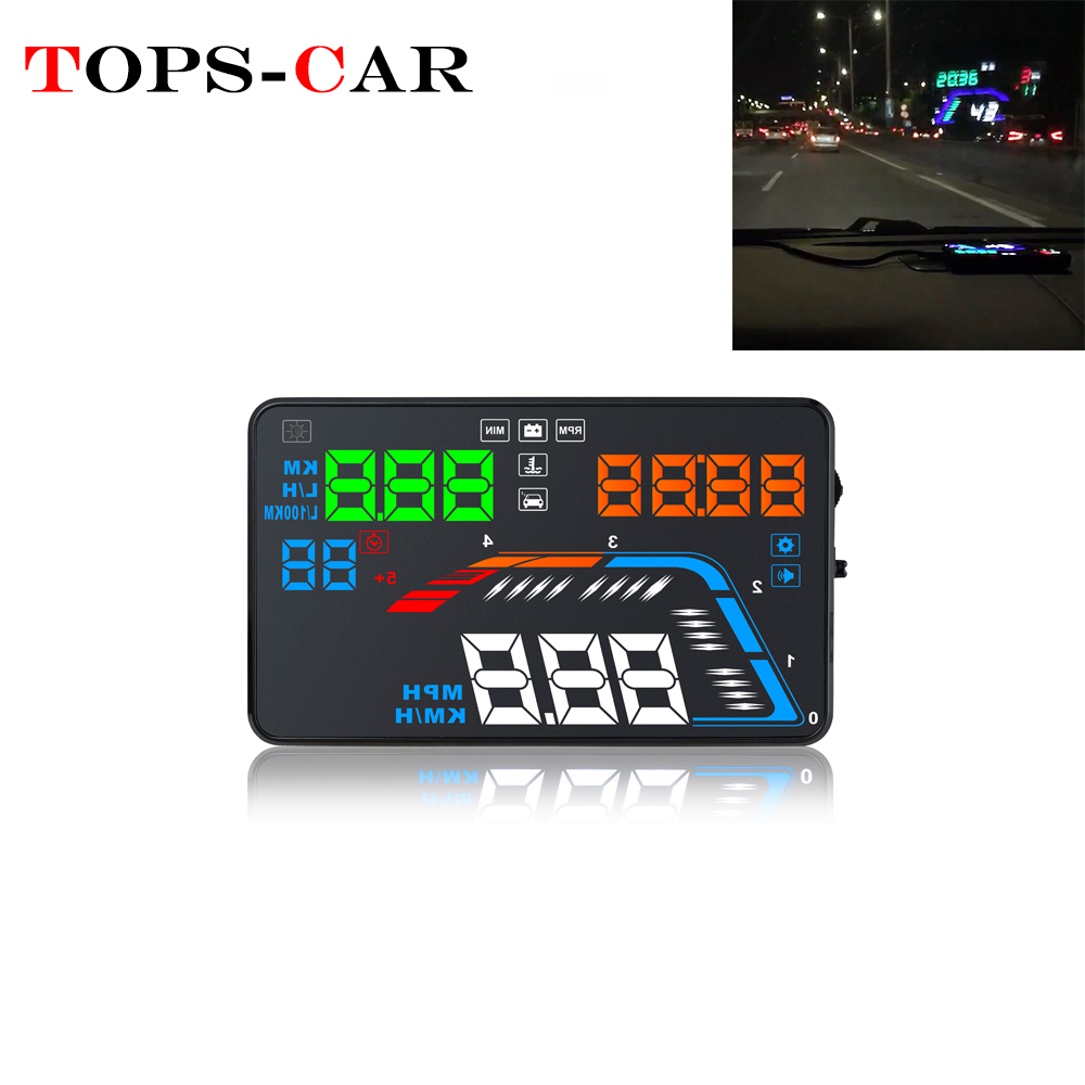 OBD2 II Car GPS HUD Head Up Display Overspeed Warning Alarm Digital Speedometers