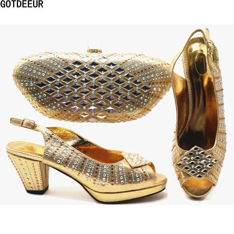 Chaussure Chaussures Sacs De Pour La Fête Dark Luxe Africains or Appliques Mariage Décoré green fuchsia Et vin Nigérian Avec Femmes Rouge Italien Ensemble Blue ASrqnFPAcw
