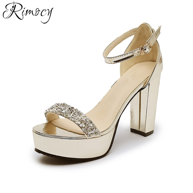 7916b72ac2818 Rimocy women s thick heel platform shoes summer fashion gold silver glitter  sandals woman elegant high heels wedding party pumps