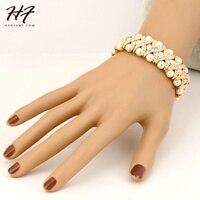 Одежда высшего качества H167 имитация жемчуга эластичный розовое золото Цвет браслет ювелирные изделия Австрийские кристаллы Оптовая