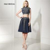 H & S Bridal темно синего цвета с высоким воротом из двух частей Короткие Выпускной Вечеринка платья мини колпачок рукав блёстки выпускные плать