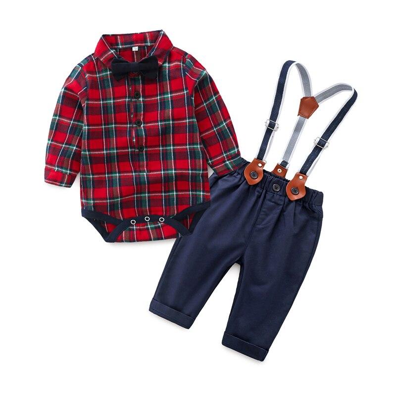 Baby Boy Clothing Sets Gentleman 2018 Fashion Plaid Shirt ...