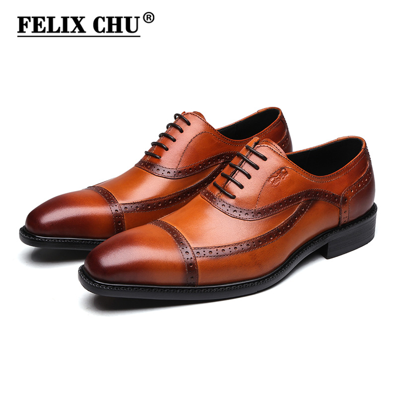 FELIX CHU Brown Black Genuine Leather Mens Lace Up Cap Toe Formal Oxford Brogue Man Office Party Dress Wedding Shoes #1815-83 2017 classic polka dot lace up men brogue dress shoes genuine leather brown black formal office business man suit shoe e71815 21 page 9