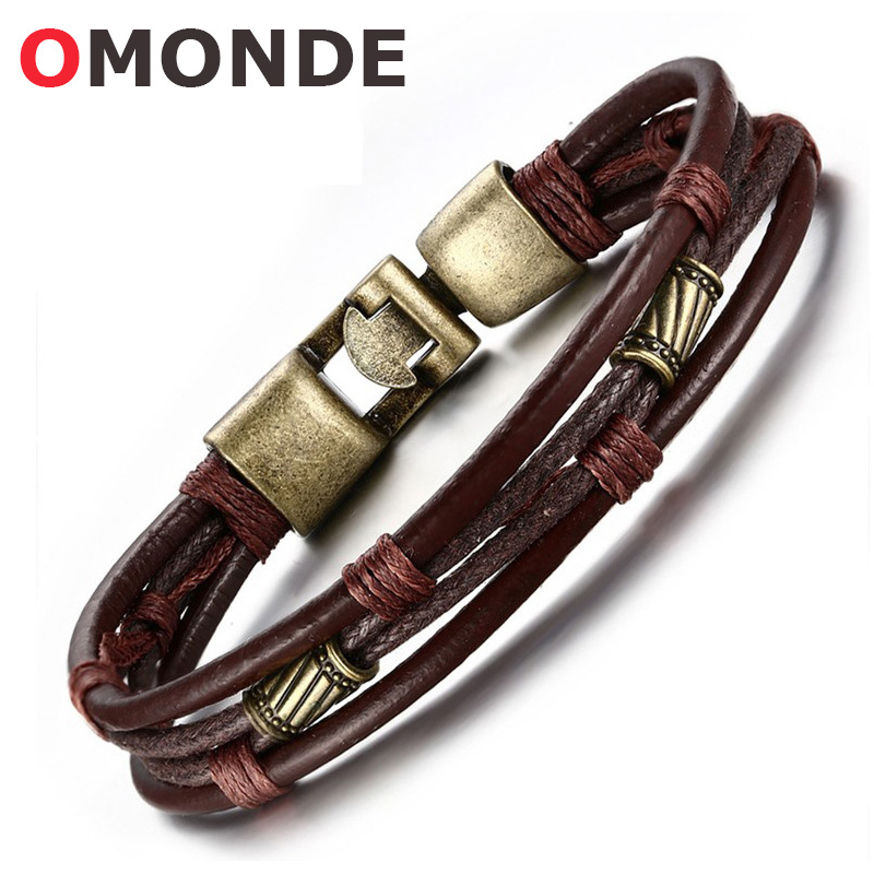 OMONDE Mens Fashion Jewelry Vintage Retro Style Leather Bracelet Copper Alloy Braided Rope Bangles for Female