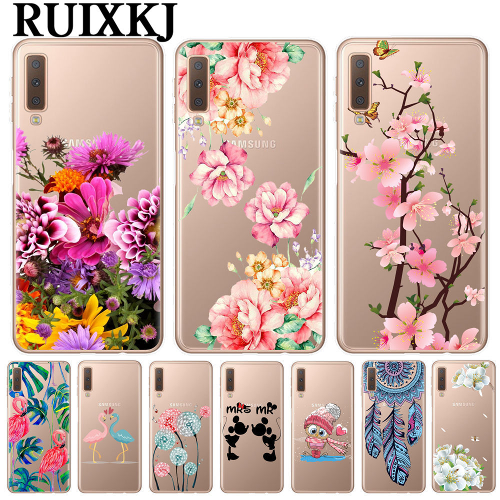 Obliging For Samsung A7 2018 Case 6.0 Inch Soft Tpu Silicon Phone Case For Samsung Galaxy A7 2018 Case A750 A750f Cover Pink Flowers Case Diversified In Packaging