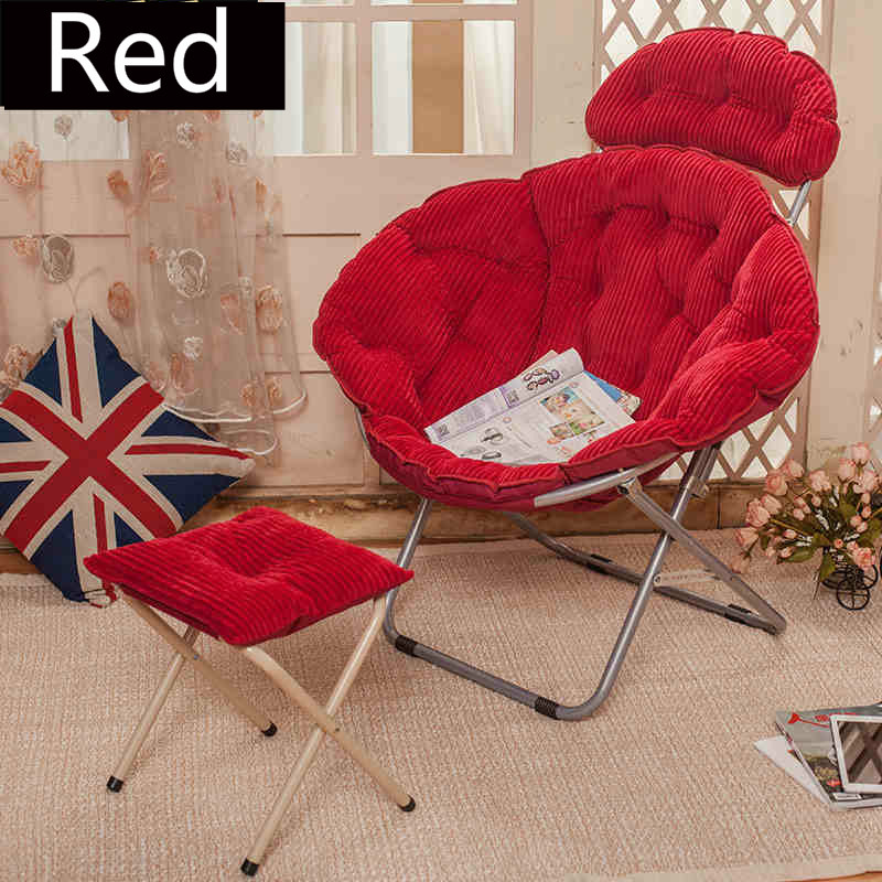 Large Moon Chair Portable Folding Comfortable Soft Break Recliner Chairs Foldable Detachable Leisure Lounger with Footstool