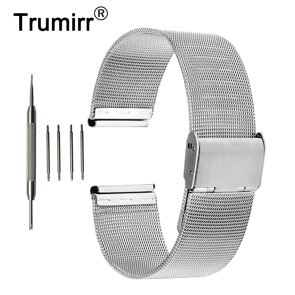 цена на Milanese Band 18mm for Withings Activite / Steel / Pop Mesh Stainless Steel Watchband Metal Strap Bracelet with Tool Spring Bar