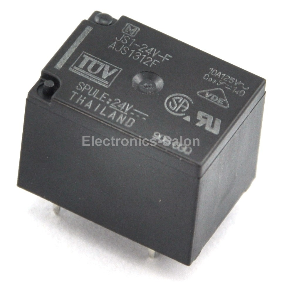 ( 20 Pcs/lot )  JS1-24V-F 10A Cubic Type Power Relay, SPDT / 1 Form C, DC 24V.