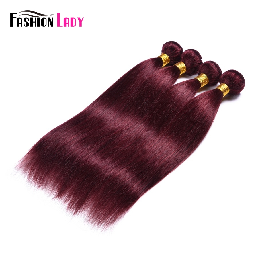 Fashion Lady Pre-colored Red Indian Human Hair Straight Bundles 99j Hair Extensions 1/4 Bundles Per Pack Non-remy Hair Bundle