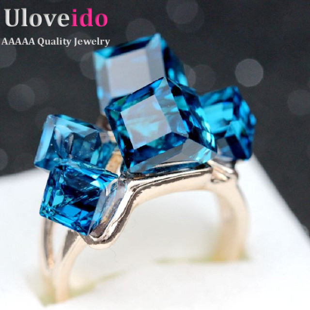 Uloveido Rose Gold Plated Crystal SquaStone Rings