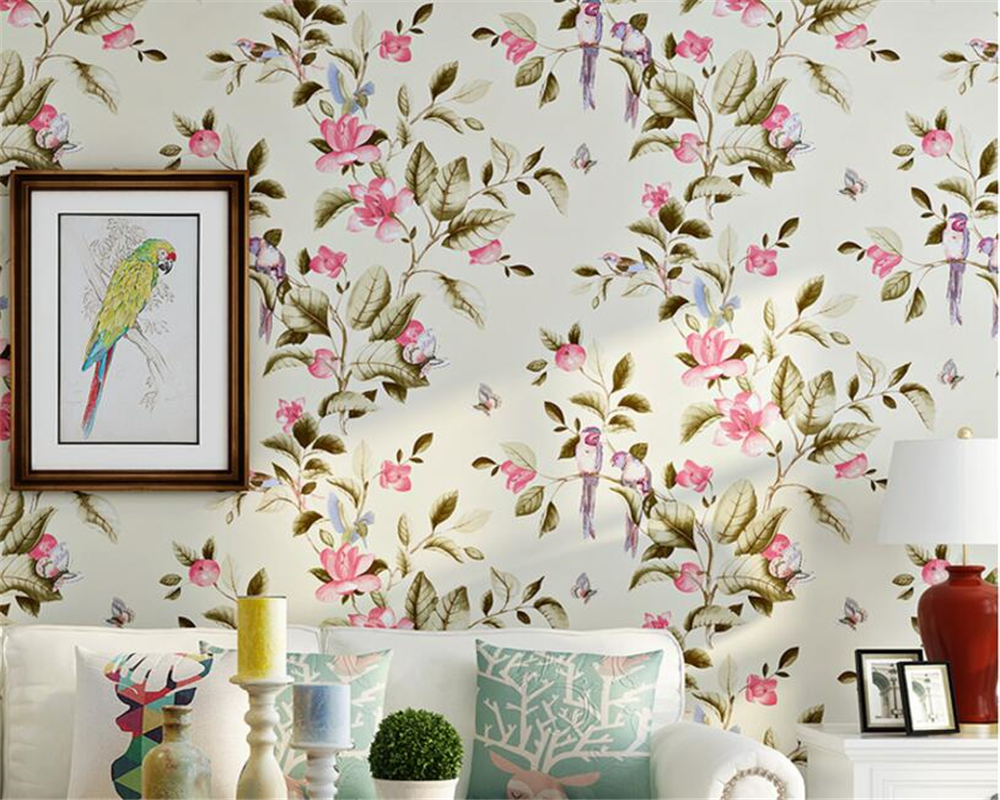 Beibehang Papel De Parede American Flower Bird Wallpaper