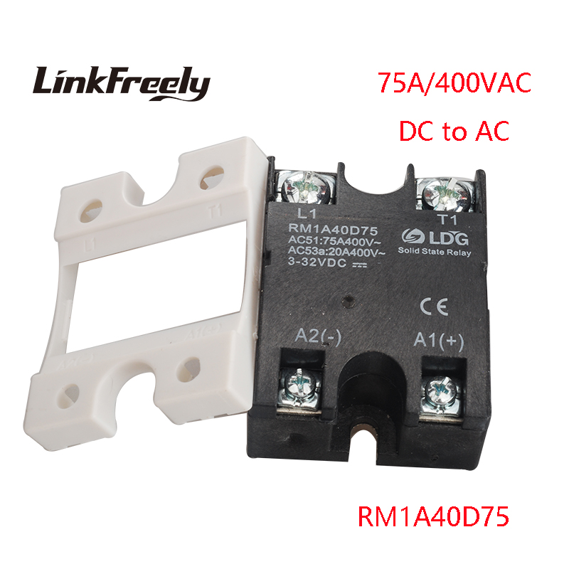 RM1A40D75 75A DC AC Solid State Relay Output:42-440VAC Input:5V 12V 24V DC SSR Relay PLC Motor Soft Starter Relay Switch Board