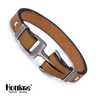 Hottime New Men Jewelry Pirate Style Alloy Italian Genuine Leather Anchor Bracelets Cuff Handmade Wrap Bracelet & Bangles Gifts