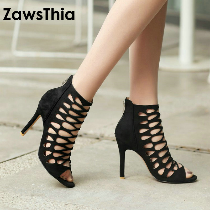 ZawsThia 2018 Summer Sexy Peep Toe Purple Thin High Heels Zip Woman Gladiator Sandals Women Pumps Club Wedding Shoes Size 43 44 cdts 35 45 46 summer zapatos mujer peep toe sandals 15cm thin high heels flowers crystal platform sexy woman shoes wedding pumps