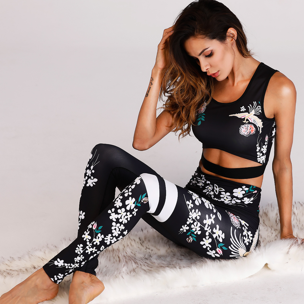 2018 Women Fashion Print Stitching Tracksuit <font><b>Sexy</b></font> Slim <font><b>Fitness</b></font> Vest <font><b>Crop</b></font> <font><b>Top</b></font> Hoodies High Waist Elastic Pant Workout Suit Set image