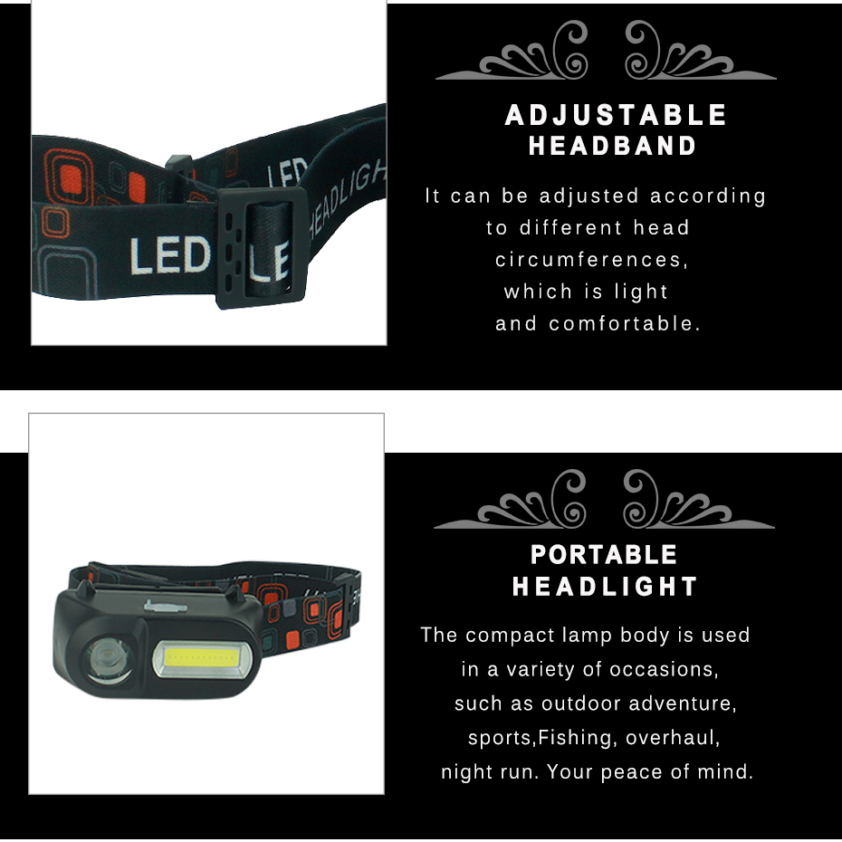 Купить с кэшбэком LED Headlamp COB + XPE Night Running Head Lamp USB 5W Headlight Torch for Fishing Camping Hiking Use 18650 Rechargeable Battery