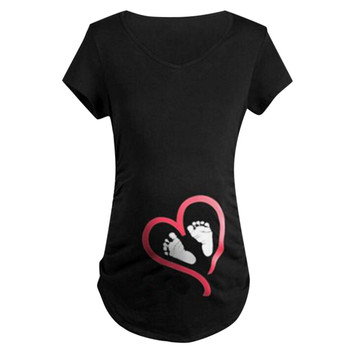 Maternity Clothes Summer Short Sleeve T Shirt Blouse Footprint Funny Ladies Pregnancy 2