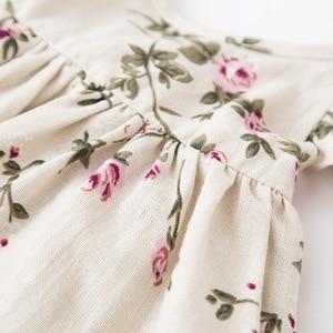 Image 4 - Girls Flower Dresses 2018 Kids Girl Linen Printed Dress Babies Princess Ruffles Dress Baby Girl Clothes beb clothing