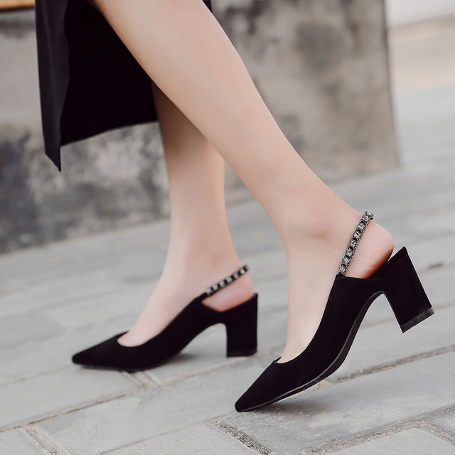 Donna in Genuine Leather Women High Heels Sexy Crystal Pump Wedding Black Pink Pointed Toe Sandals