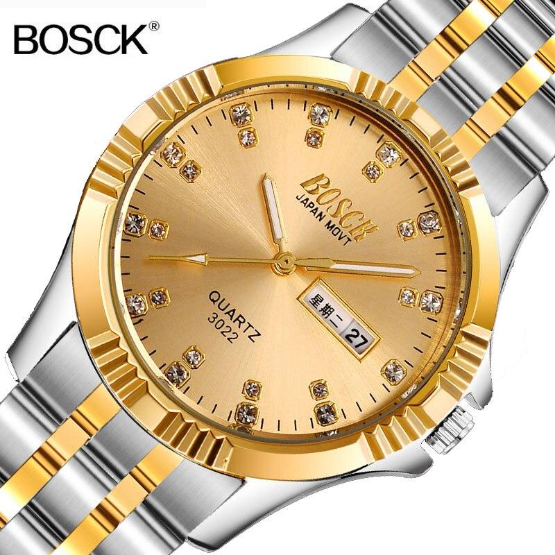 BOSCK Role Luxury Men Watch Full Stainless Steel Gold Quartz Watch Famous Brand Men's Gold Wristwatch Waterproof Calendar Clock все цены