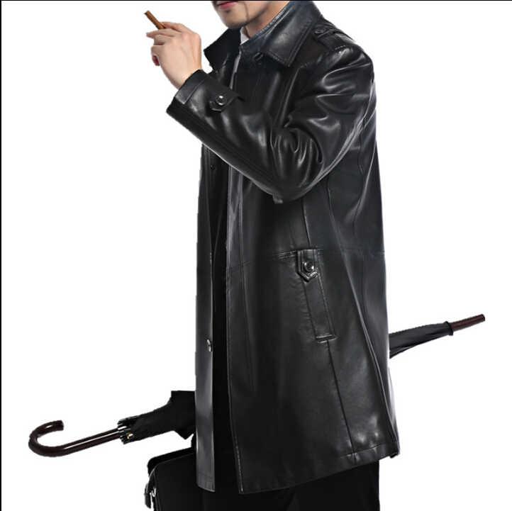 Мужские кожаные куртки из овчины, мужская верхняя одежда, Осенние повседневные куртки, мужские Модные длинные кожаные куртки A2552