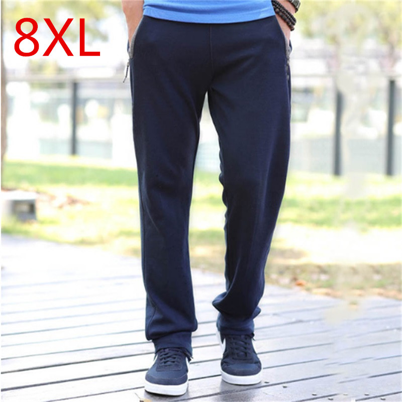 2018 NEW Men Big size trousers with XL close shut fat oversize feet 6 feet pants pants men mens black 7XL 8XL