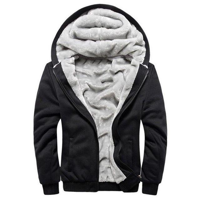 Hoodies Dos Homens Com Capuz de Lã Ocasional Inverno Engrossar Quente Casaco Masculino Casaco Com Capuz Zipper Cardigan Com Capuz de Veludo Masculino Homem Roupas