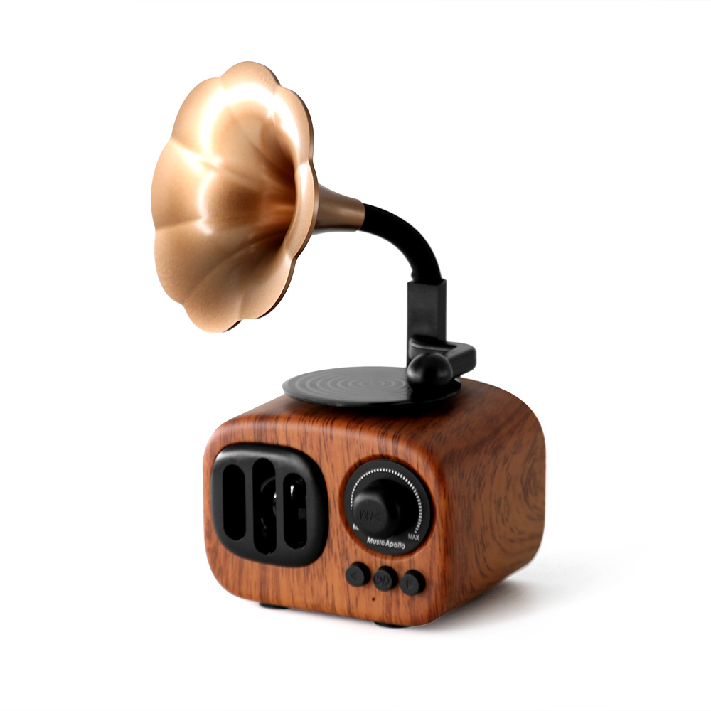 Retro Trumpet Style Bluetooth Speaker Wireless Stereo Subwoofer Music Box Wooden Speakers with Mic FM radio TF for Phone exrizu ms 136bt portable wireless bluetooth speakers 15w outdoor led light speaker subwoofer super bass music boombox tf radio