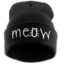 & Feitong Hats Women Female Winter Hats For Women Hat Knitting MEOW Letter Beanie Cap Bonnet Femme Hiphop Cap Warm Beanie Hat