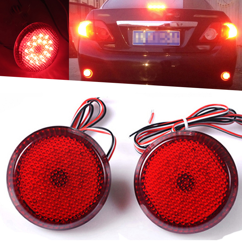 NEW 2Pcs Car 48 LED Tail Rear Bumper Reflector Lamp Round Trail Brake Stop Light For Nissan/Qashqai/Toyota Sienna/Corolla J20 2pcs high quality for toyota corolla 2007 2008 2009 2010 car reflector led back tail rear bumper light brake lamp fog light