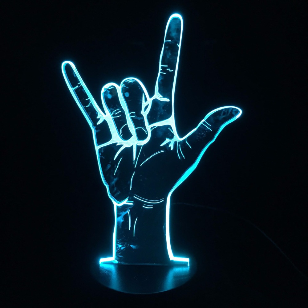 Sign Language I Love You or Victory Yes 3D LED Lamp Table Night Light USB Operated Romantic Party Holiday Valentine's Day Gift