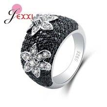 3847ccd727aff JEXXI جديد وصول أسود الأزياء والمجوهرات حلقة الاسترليني 925 الفضة  الاكسسوارات للشباب جميلة زهرة شكل حجر الكريستال آنيل