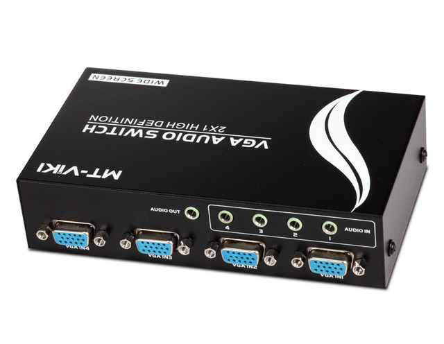 4 PORT Audio + VGA Sharing Switch Box switcher Wide Screen Key press