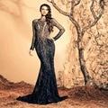 El último diseño negro HeavyBeaded vestidos largos por la noche vestido de la sirena manga larga palabra de longitud vestidos de noche por encargo ZED40