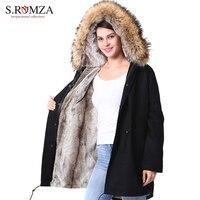 S.ROMZA Women Raccoon Fur Collar Parka Faux Fur Woman Winter Warm Long Jacket Detachable Lining Thick Coat