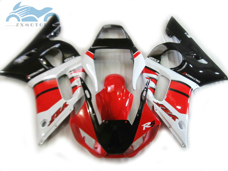 Customized motorcycle fairings kits for <font><b>YAMAHA</b></font> <font><b>R6</b></font> YZFR6 1998 1999 <font><b>2000</b></font> 2002 YZF <font><b>R6</b></font> 98-02 red black fairing body repair sets EB36 image