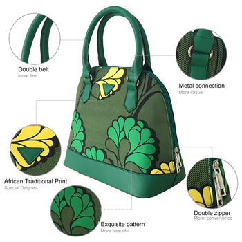 FANS FACE Fresh Summer Style Fashion African Print Green Handbag Female 2017 Luxury Handbags Women Bags Designer 30*16*41cm 1