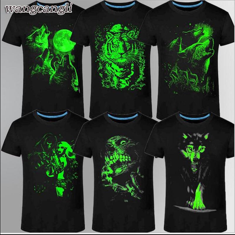 Wangcangli neue 3D T-shirt männer lässig fluoreszierende personalisierte kurzarm licht drei-shirt sommer shirt männer T-shirt