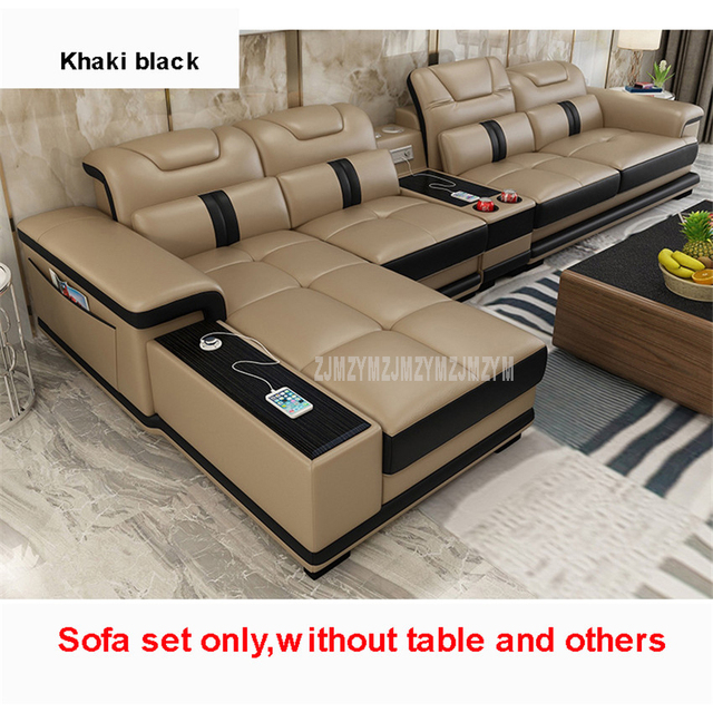 1Set 4 Seat First Layer Real Leather Living Room Sofa Set Corner Sofa Set With Bluetooth Speaker Function Modern Home Furniture