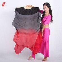 Accesorios de danza del vientre negro danza del vientre teñido 100% seda pura Natural abanico velos para danza del vientre rendimiento mujeres abanico un par
