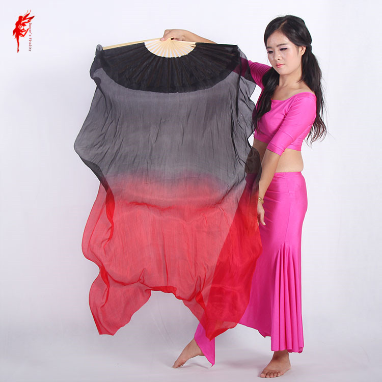 Belly Dance Accessories Black Belly Dance Dyed 100% Pure Natural Silk Fan Veils For Belly Dance Performance Women's Fan A Pair