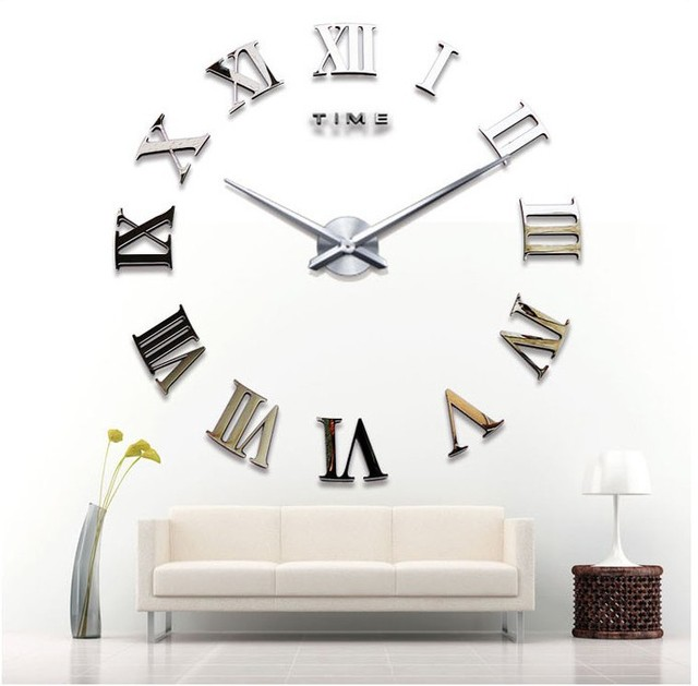 * Fun DIY Wall Clock Roman Numerals Creative Wall Clock Quartz Movement DIY Wall Clock Acrylic Mirror Material Wall Clock Sit