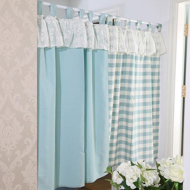 Set Japanischen Stil Plaid Kurze Spitze Küche Vorhänge Für Wohnzimmer Blume  Tür Vorhänge Fertige Grün Dekor