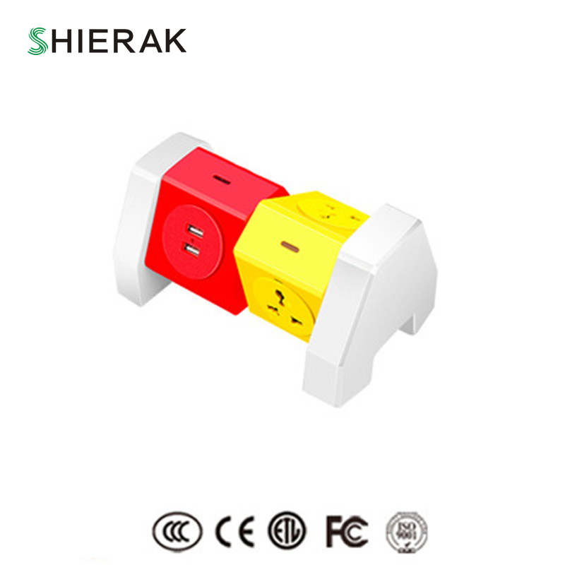цена на SHIERAK New Arrival Creative Universal Socket With 3 Outlets 2 USB Ports 5V 2.1A Cable Length 1.8m Adapter 110-250V 10A Home