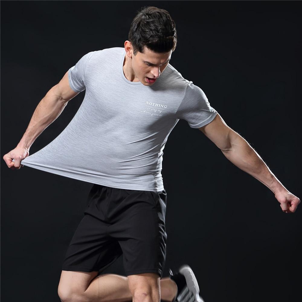 GANYANR Running T Shirt Men Basketball Tennis Sportswear Tee Sport Fitness Gym Jogging Tops Slim Fit quick dry Exercise Training 40